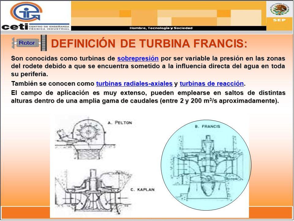 CLASIFICACIÓN DE LA TURBINA FRANCIS: Se clasifican en función de la velocidad específica del rodete, cuyo número de revoluciones por minuto depende de las características del salto.