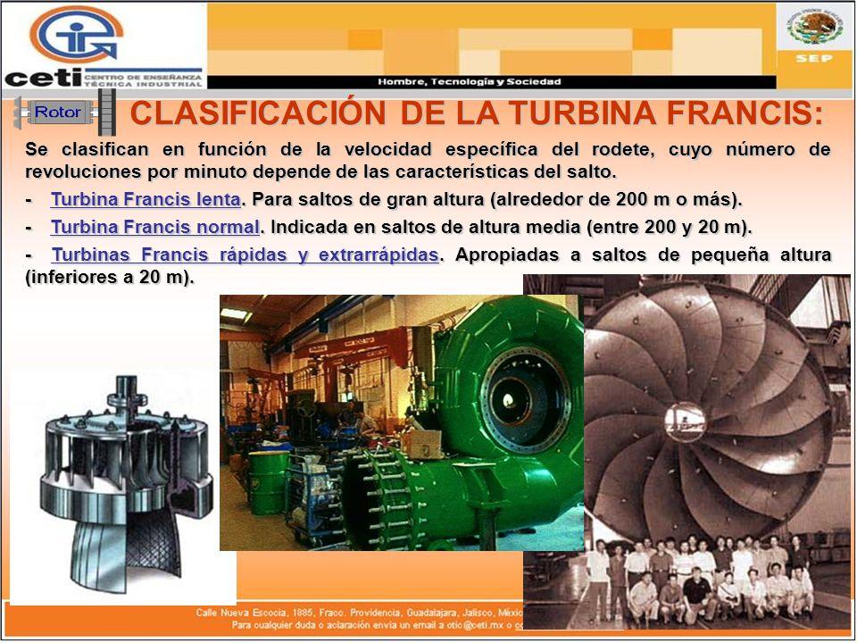 CARACTERÍSTICAS: Las turbinas Francis, son de rendimiento óptimo, pero solamente entre unos determinados márgenes (para 60 % y 100 % del caudal máximo).