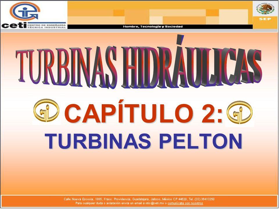 DEFINICIÓN DE TURBINA PELTON: Se conocen como turbinas de presión por ser ésta constante en la zona del rodete, de chorro libre, de impulsión o de admisión parcial debido a que es sólo afectada por el agua una parte de la periferia del rodete.