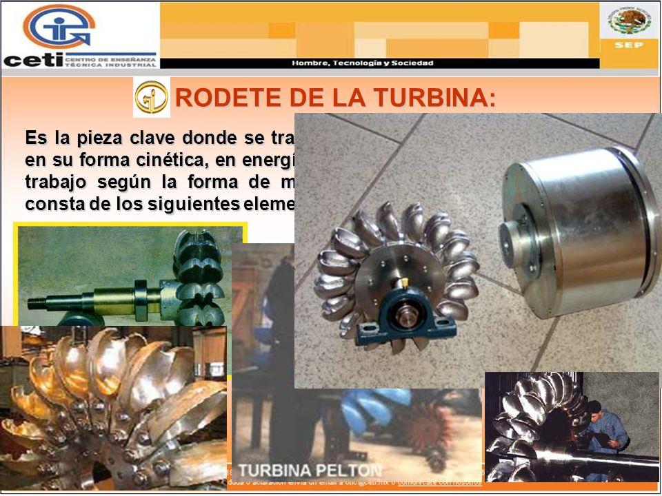 RODETE DE LA TURBINA: Es la pieza clave donde se transforma la energía hidráulica del agua, en su forma cinética, en energía mecánica o, dicho de otra
