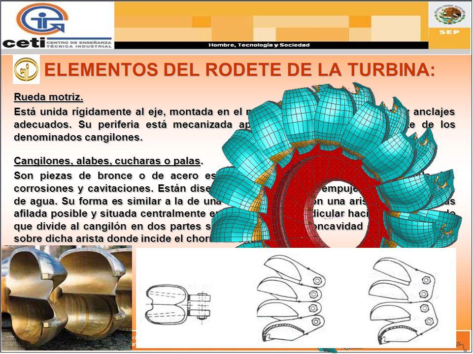 ELEMENTOS DEL RODETE DE LA TURBINA: Rueda motriz. Está unida rígidamente al eje, montada en el mismo por medio de chavetas y anclajes adecuados. Su pe