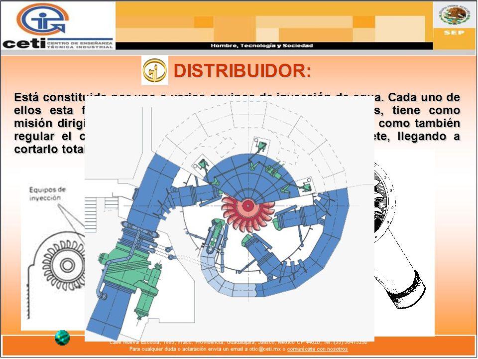 DISTRIBUIDOR: Está constituido por uno o varios equipos de inyección de agua. Cada uno de ellos esta formado por determinados elementos mecánicos, tie