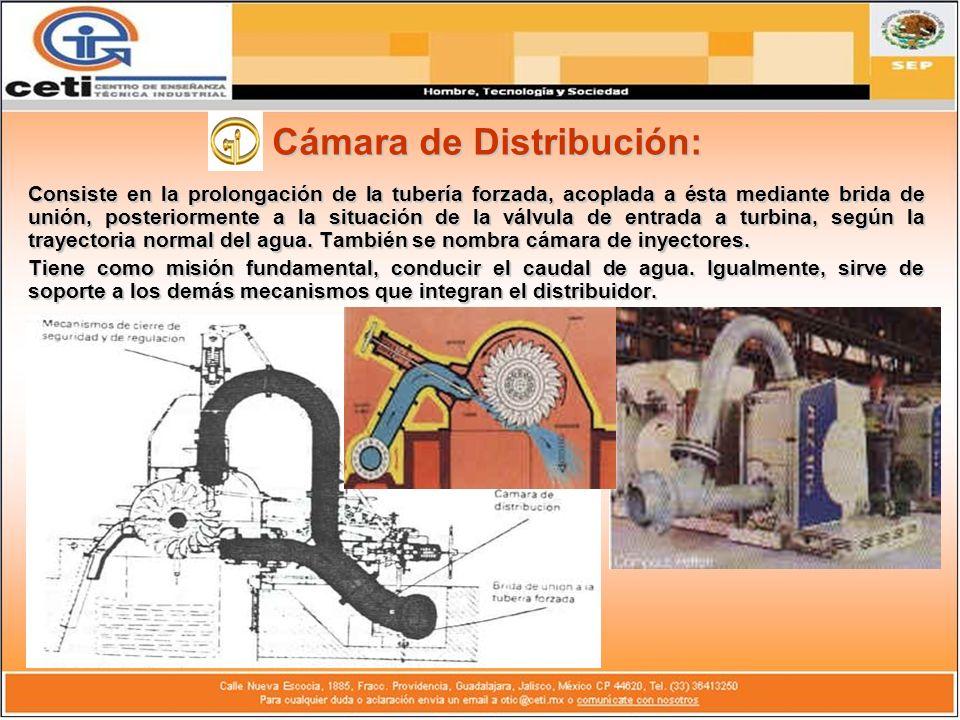 Cámara de Distribución: Consiste en la prolongación de la tubería forzada, acoplada a ésta mediante brida de unión, posteriormente a la situación de l