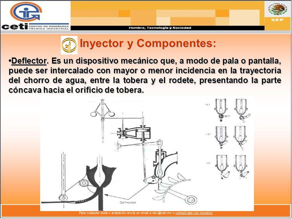 Inyector y Componentes: Deflector. Es un dispositivo mecánico que, a modo de pala o pantalla, puede ser intercalado con mayor o menor incidencia en la
