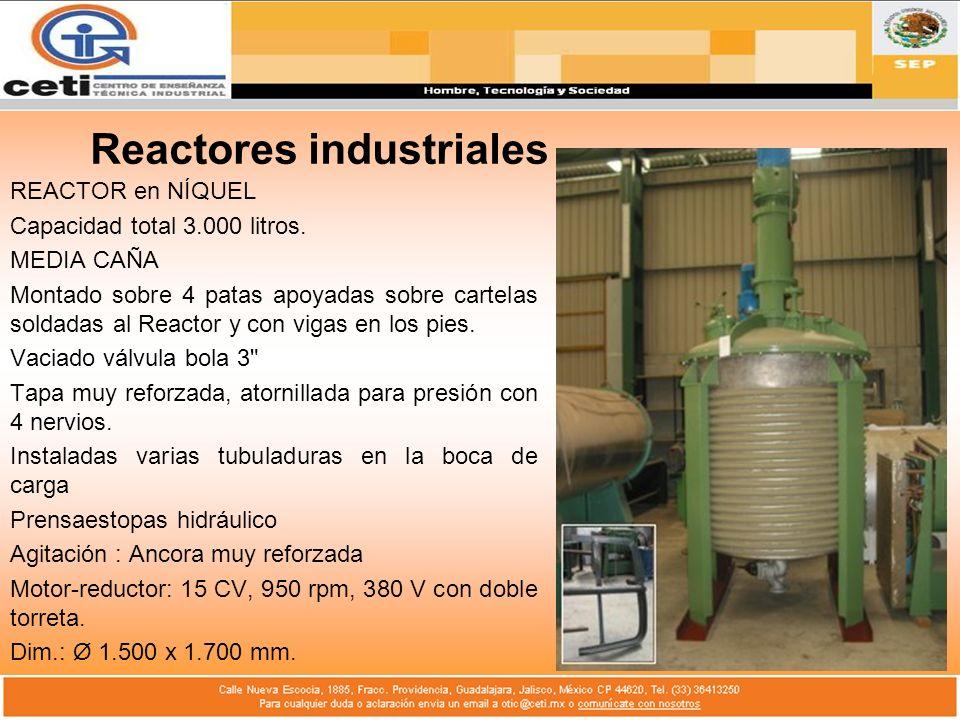 Reactores industriales REACTOR en NÍQUEL Capacidad total 3.000 litros. MEDIA CAÑA Montado sobre 4 patas apoyadas sobre cartelas soldadas al Reactor y
