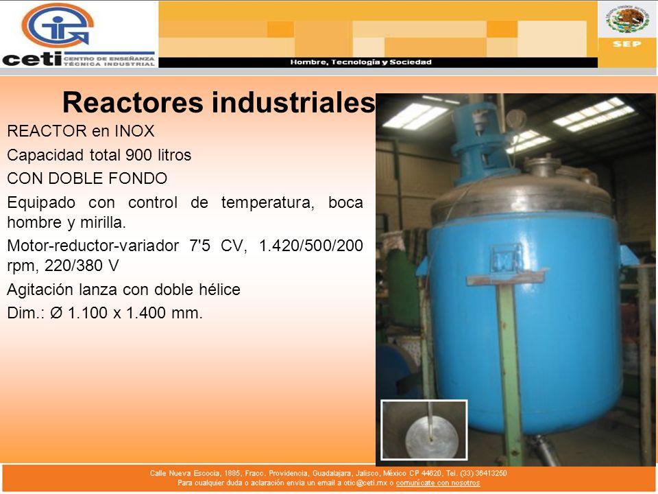 Reactores industriales REACTOR en INOX Capacidad total 900 litros CON DOBLE FONDO Equipado con control de temperatura, boca hombre y mirilla. Motor-re