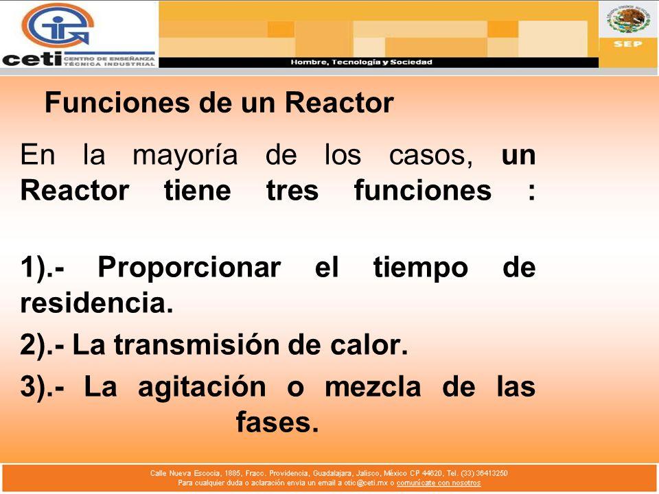 Funciones de un Reactor En la mayoría de los casos, un Reactor tiene tres funciones : 1).- Proporcionar el tiempo de residencia. 2).- La transmisión d