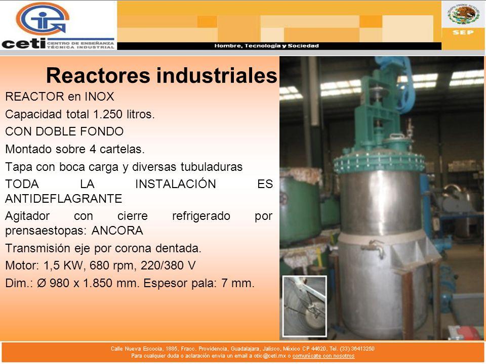 Reactores industriales REACTOR en INOX Capacidad total 1.250 litros. CON DOBLE FONDO Montado sobre 4 cartelas. Tapa con boca carga y diversas tubuladu