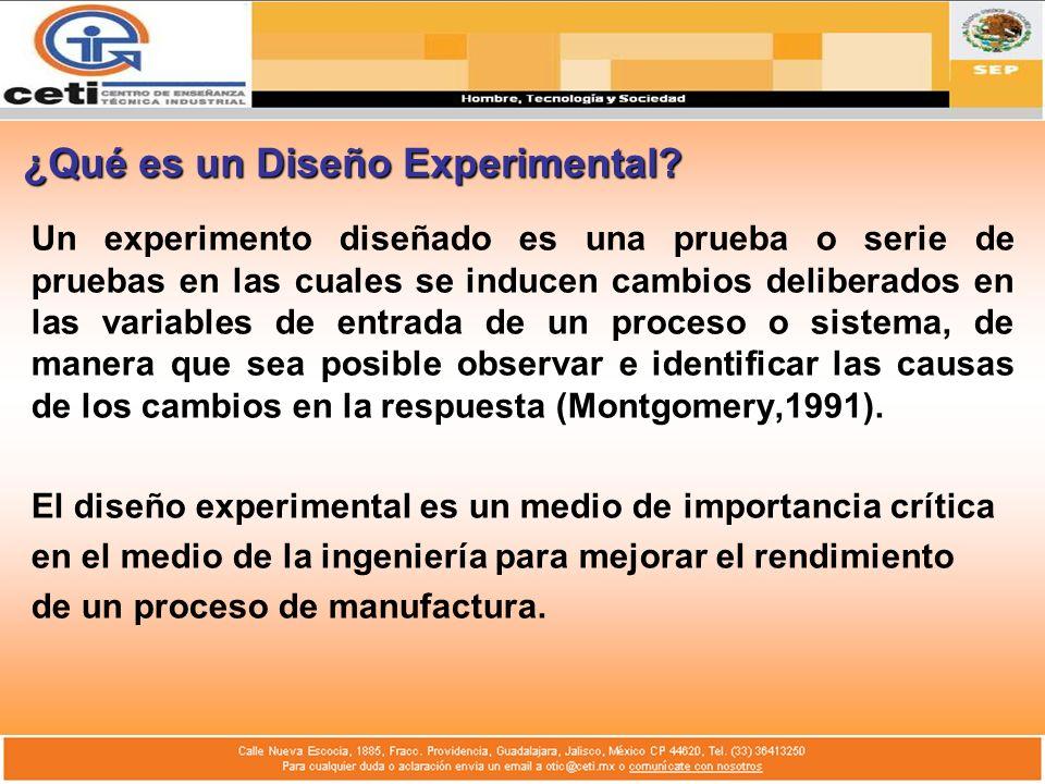 ¿Qué es un Diseño Experimental? Un experimento diseñado es una prueba o serie de pruebas en las cuales se inducen cambios deliberados en las variables