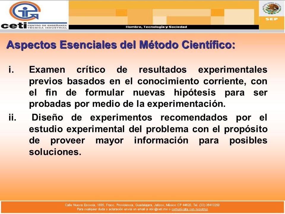 Aspectos Esenciales del Método Científico: i.Examen crítico de resultados experimentales previos basados en el conocimiento corriente, con el fin de f