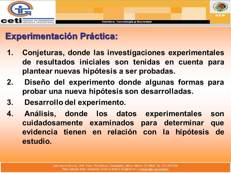 Experimentación Práctica: 1.Conjeturas, donde las investigaciones experimentales de resultados iniciales son tenidas en cuenta para plantear nuevas hi