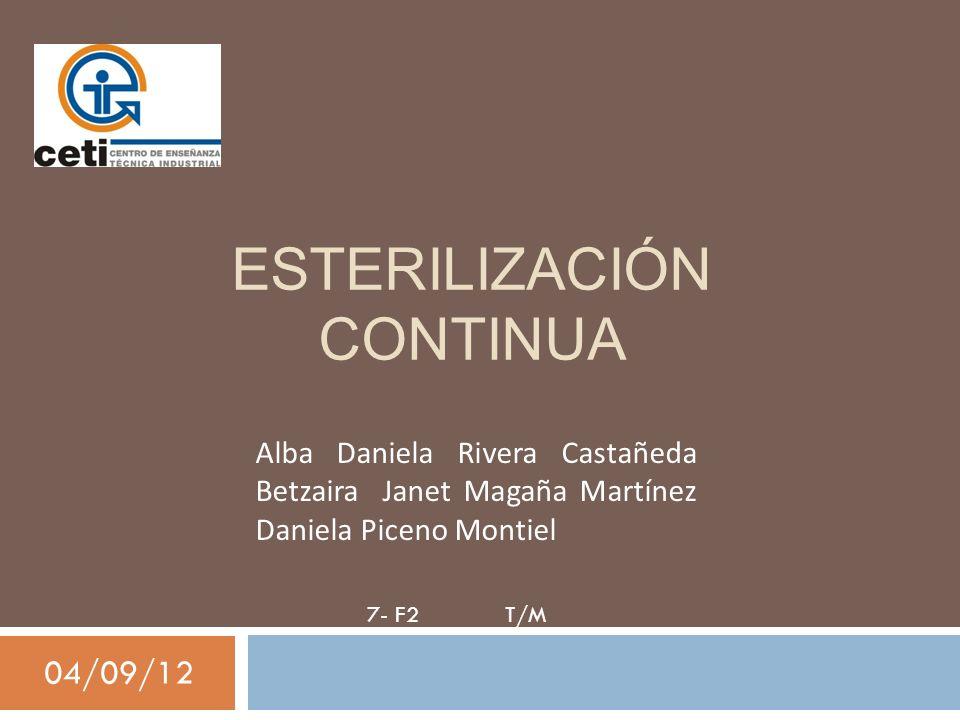 ESTERILIZACIÓN CONTINUA 04/09/12 Alba Daniela Rivera Castañeda Betzaira Janet Magaña Martínez Daniela Piceno Montiel 7- F2 T/M
