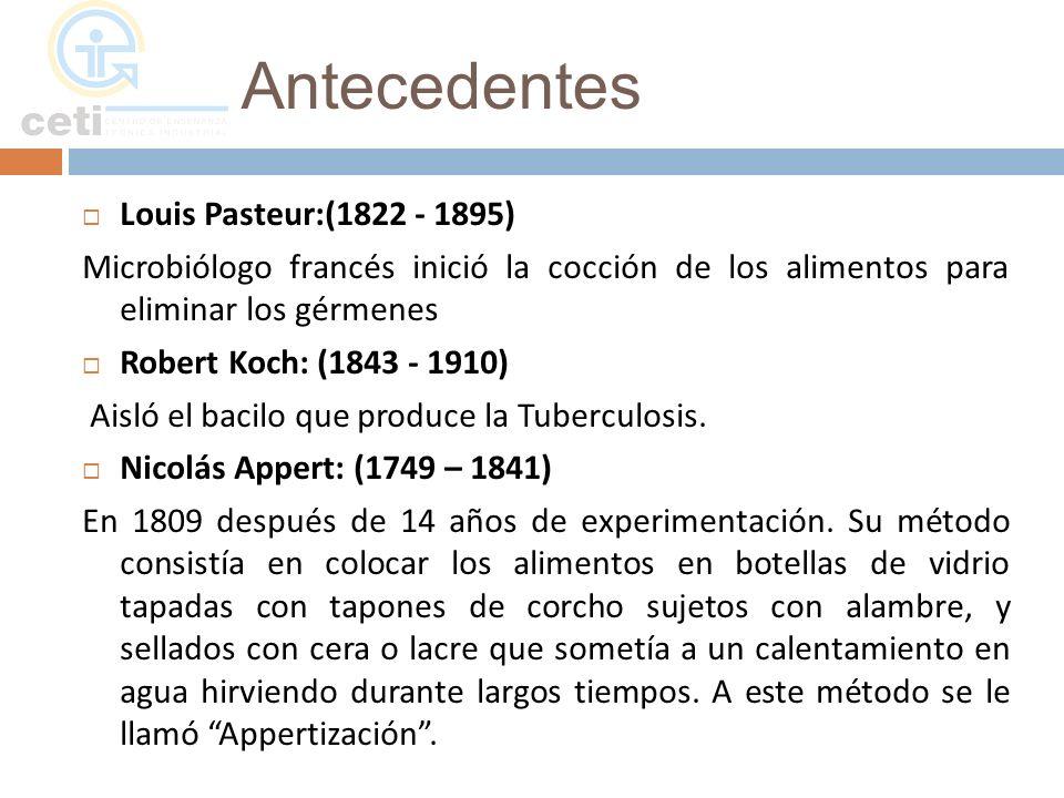 Antecedentes Louis Pasteur:(1822 - 1895) Microbiólogo francés inició la cocción de los alimentos para eliminar los gérmenes Robert Koch: (1843 - 1910)