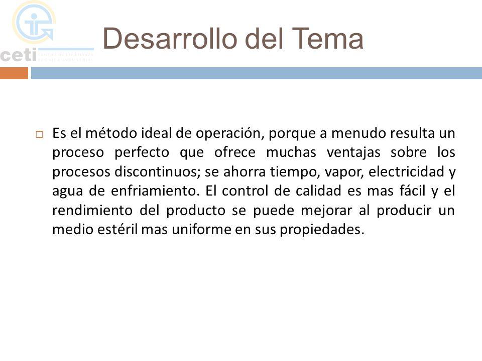 Desarrollo del Tema PRINCIPALES ESTERILIZADORES CONTINUOS El calentador-enfriador de presión: Es un esterilizador sin agitación.