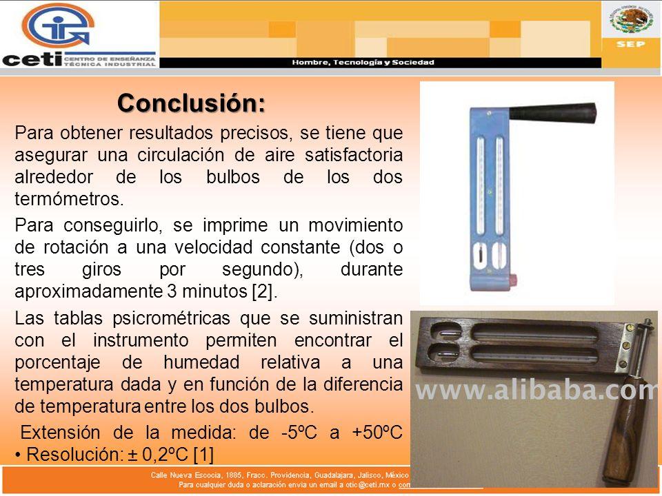 Conclusión: Para obtener resultados precisos, se tiene que asegurar una circulación de aire satisfactoria alrededor de los bulbos de los dos termómetr
