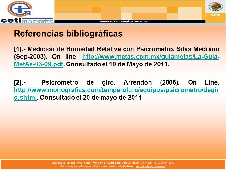 Referencias bibliográficas [1].- Medición de Humedad Relativa con Psicrómetro. Silva Medrano (Sep-2003). On line. http://www.metas.com.mx/guiametas/La