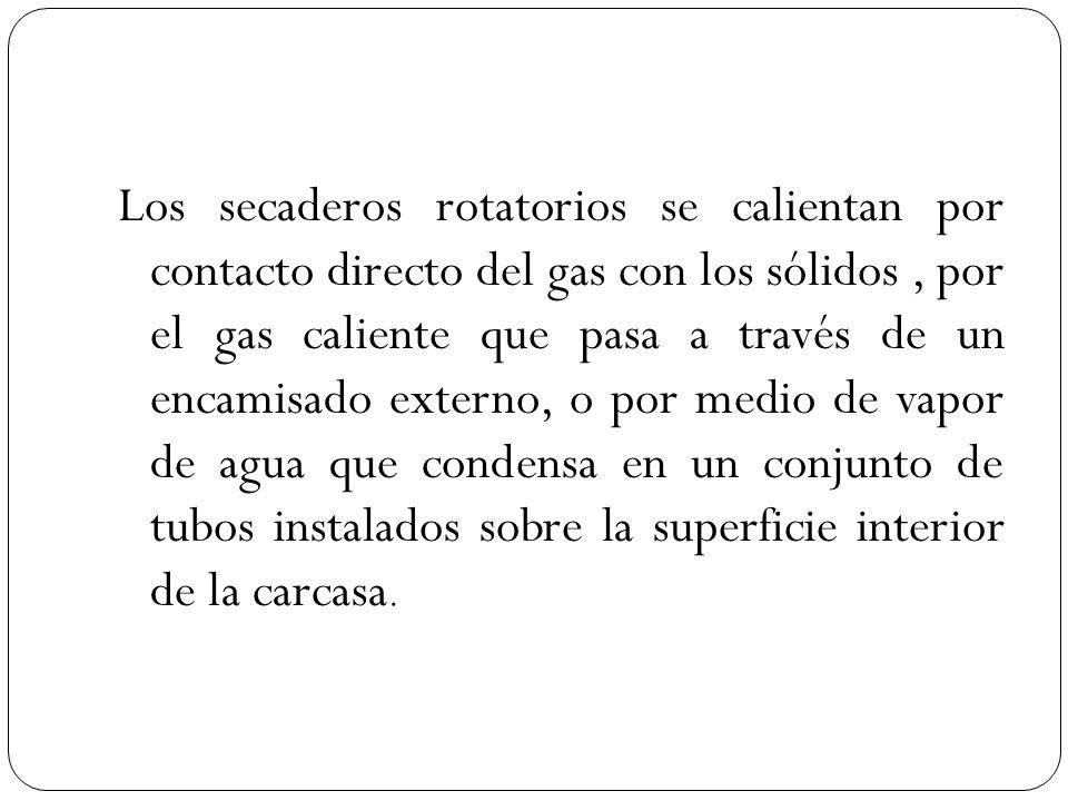 Los secaderos rotatorios se calientan por contacto directo del gas con los sólidos, por el gas caliente que pasa a través de un encamisado externo, o