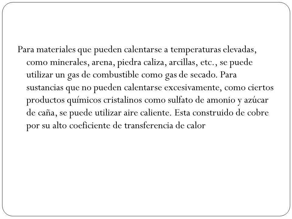 Para materiales que pueden calentarse a temperaturas elevadas, como minerales, arena, piedra caliza, arcillas, etc., se puede utilizar un gas de combu