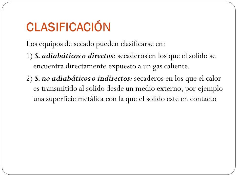 CLASIFICACIÓN Los equipos de secado pueden clasificarse en: 1) S. adiabáticos o directos: secaderos en los que el solido se encuentra directamente exp