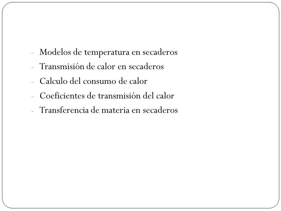 - Modelos de temperatura en secaderos - Transmisión de calor en secaderos - Calculo del consumo de calor - Coeficientes de transmisión del calor - Tra