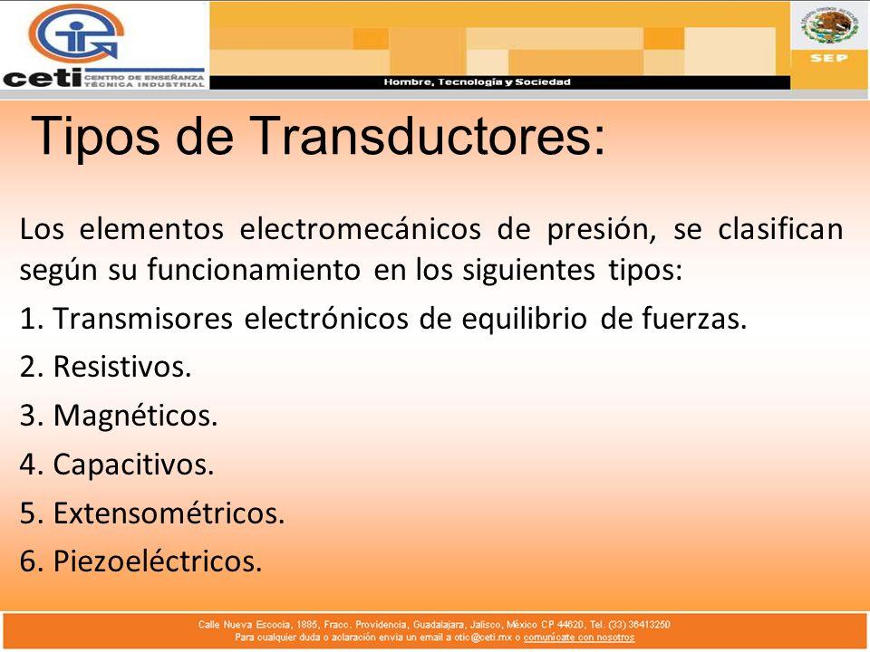 Tipos de Transductores: Los elementos electromecánicos de presión, se clasifican según su funcionamiento en los siguientes tipos: 1. Transmisores elec