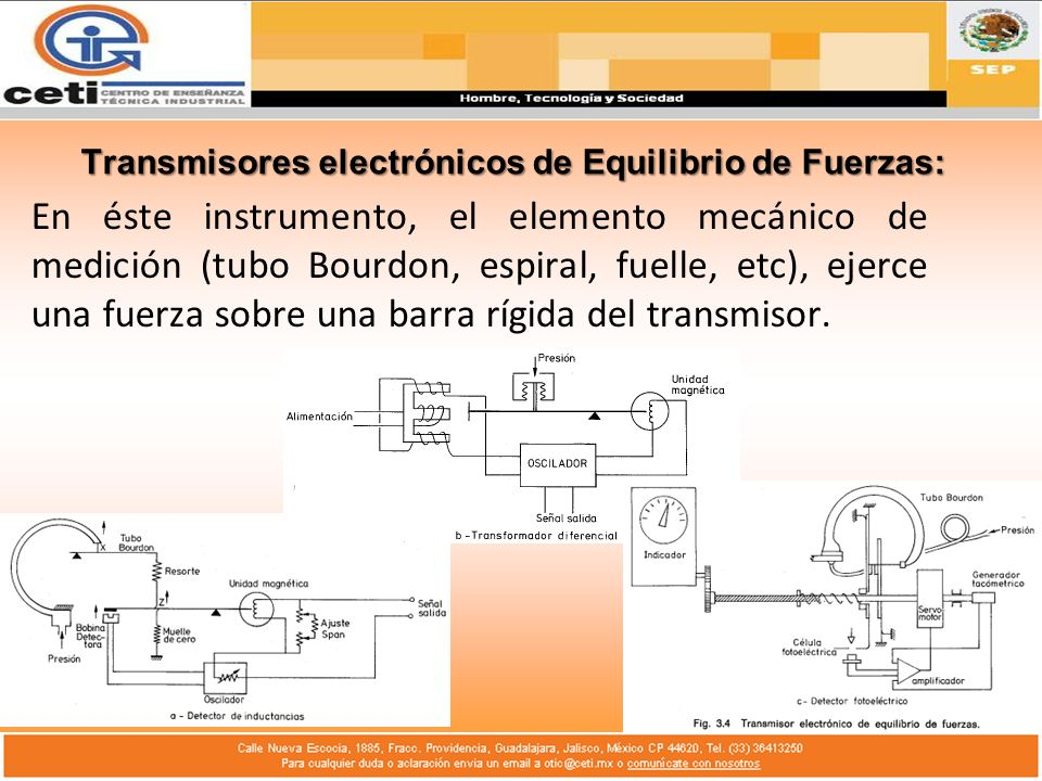 Transmisores electrónicos de Equilibrio de Fuerzas: En éste instrumento, el elemento mecánico de medición (tubo Bourdon, espiral, fuelle, etc), ejerce