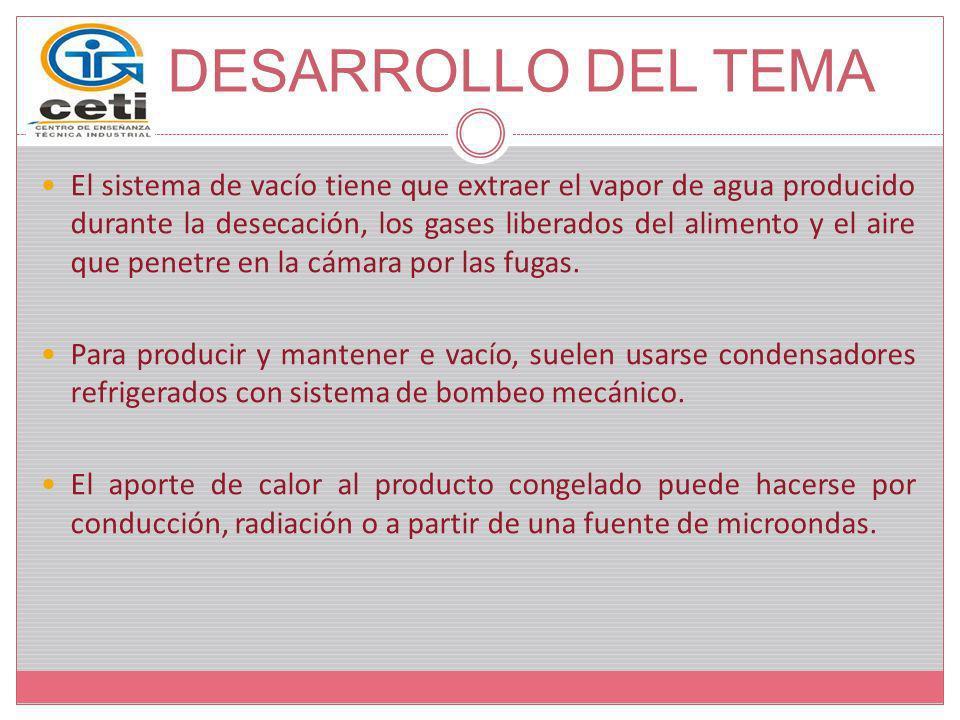 El sistema de vacío tiene que extraer el vapor de agua producido durante la desecación, los gases liberados del alimento y el aire que penetre en la c