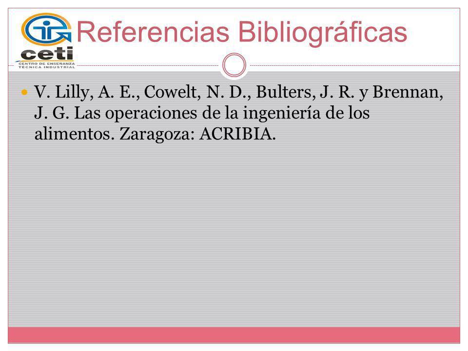 Referencias Bibliográficas V. Lilly, A. E., Cowelt, N. D., Bulters, J. R. y Brennan, J. G. Las operaciones de la ingeniería de los alimentos. Zaragoza