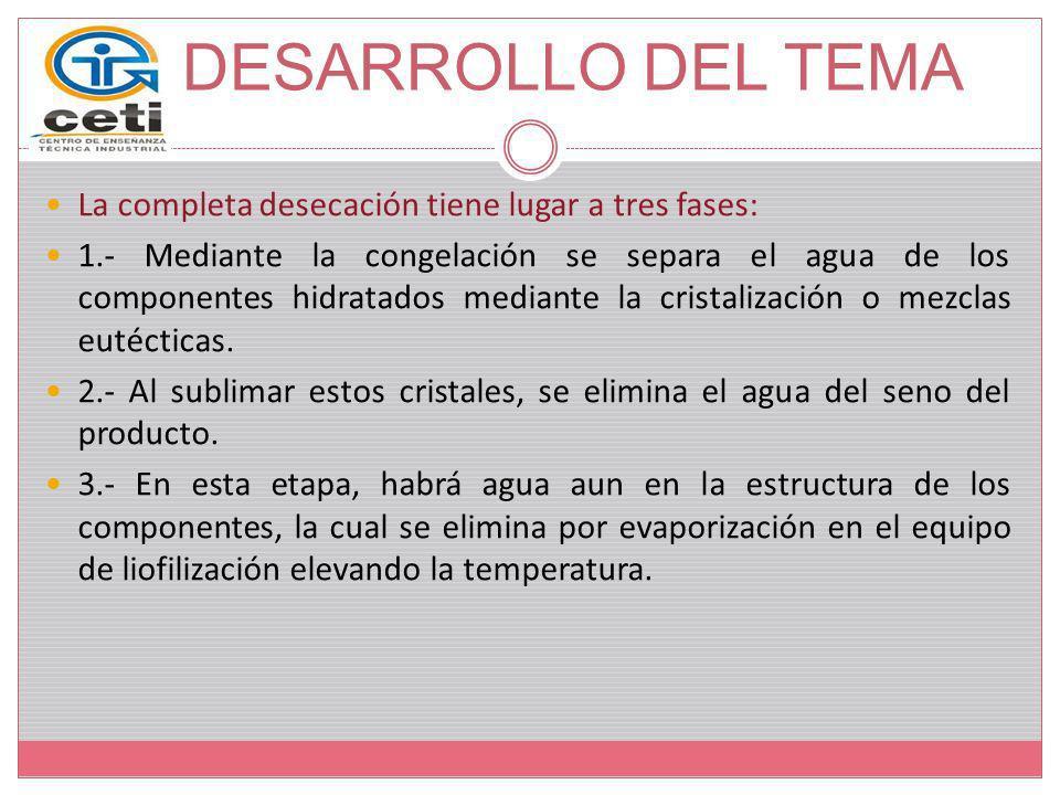DESARROLLO DEL TEMA La completa desecación tiene lugar a tres fases: 1.- Mediante la congelación se separa el agua de los componentes hidratados media