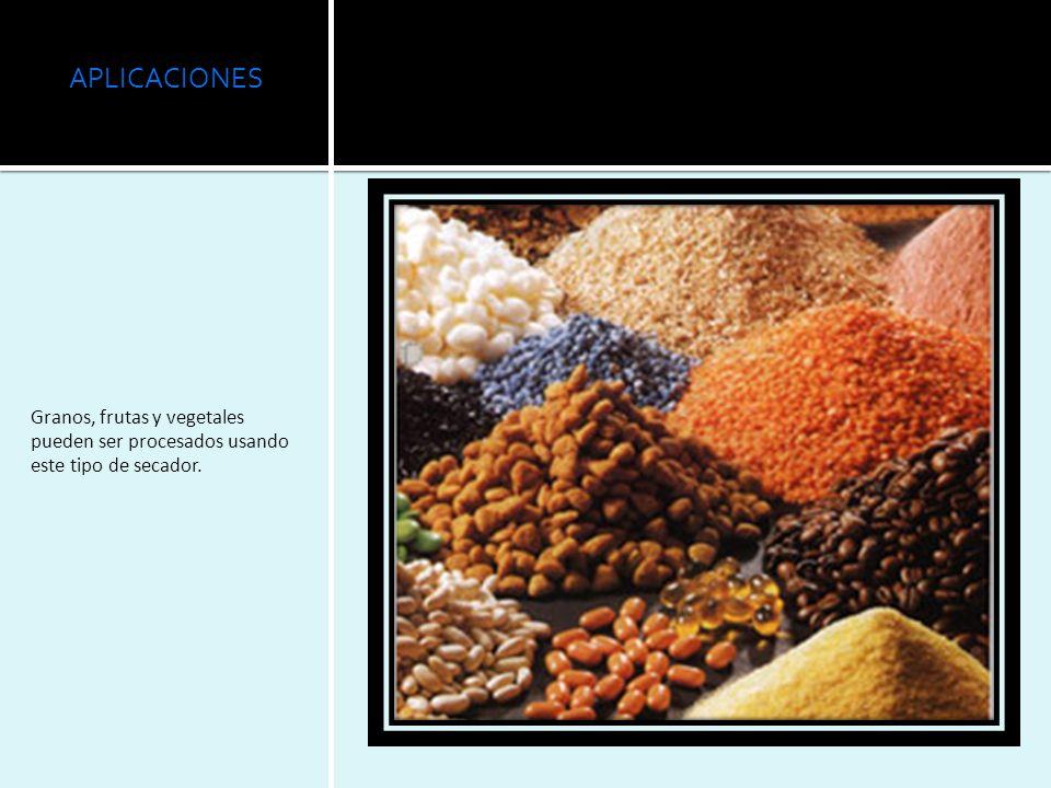 APLICACIONES Granos, frutas y vegetales pueden ser procesados usando este tipo de secador.