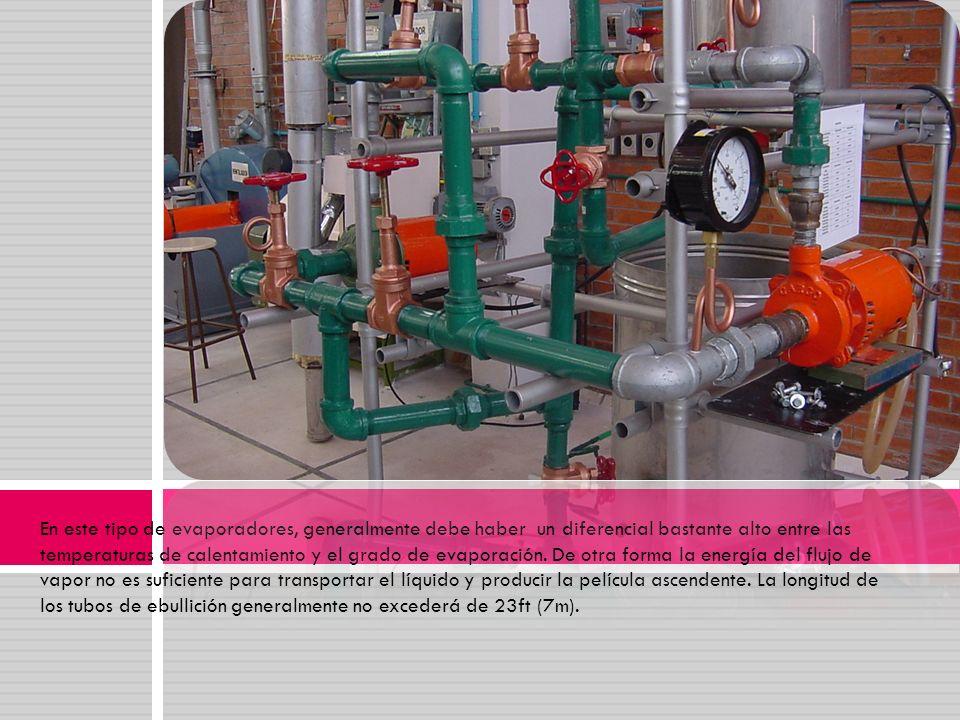 En este tipo de evaporadores, generalmente debe haber un diferencial bastante alto entre las temperaturas de calentamiento y el grado de evaporación.