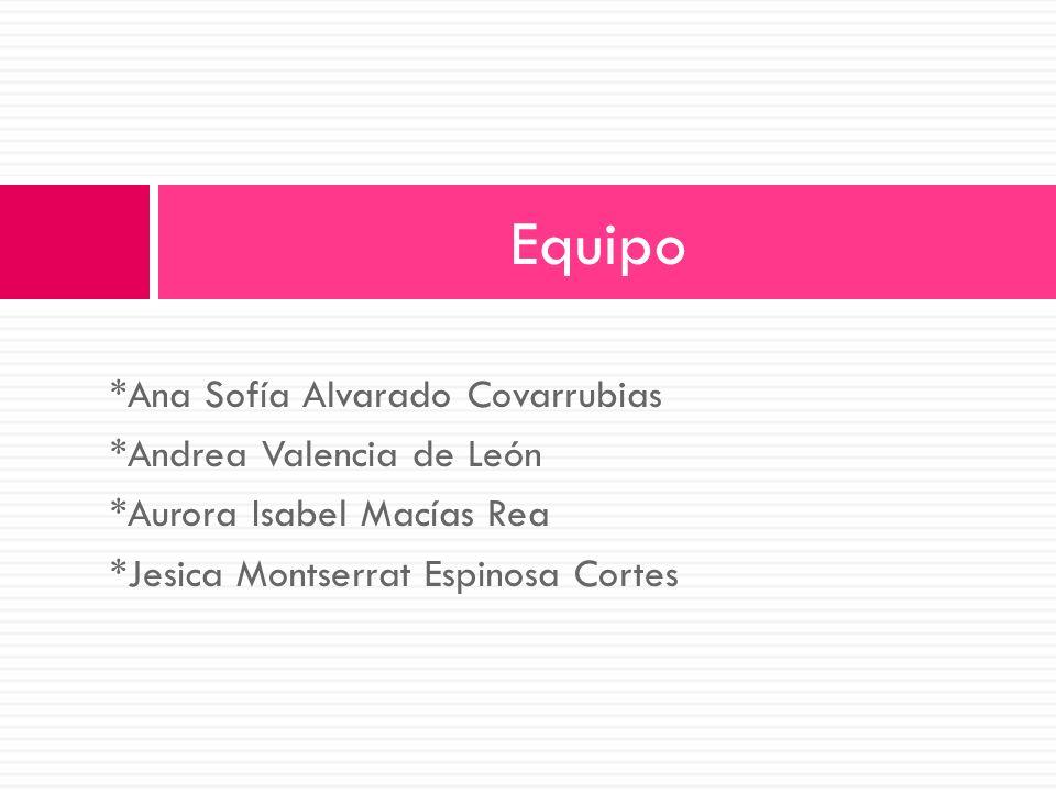 *Ana Sofía Alvarado Covarrubias *Andrea Valencia de León *Aurora Isabel Macías Rea *Jesica Montserrat Espinosa Cortes Equipo