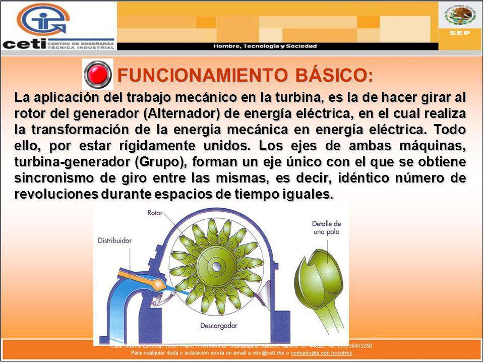 FUNCIONAMIENTO BÁSICO: La aplicación del trabajo mecánico en la turbina, es la de hacer girar al rotor del generador (Alternador) de energía eléctrica