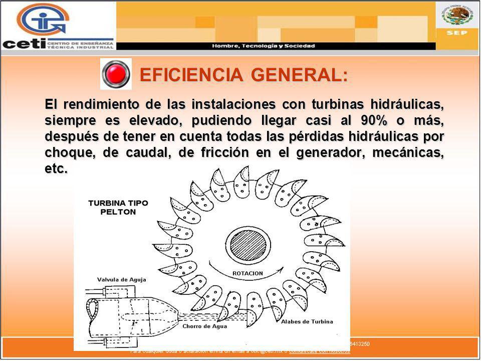 EFICIENCIA GENERAL: El rendimiento de las instalaciones con turbinas hidráulicas, siempre es elevado, pudiendo llegar casi al 90% o más, después de te
