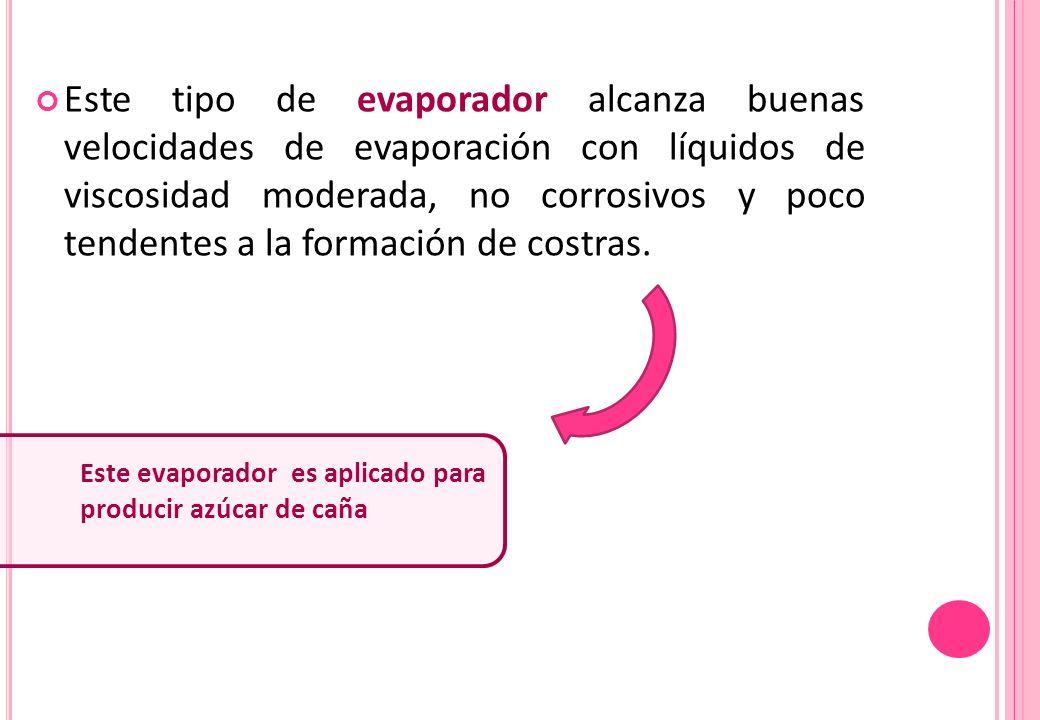 Este tipo de evaporador alcanza buenas velocidades de evaporación con líquidos de viscosidad moderada, no corrosivos y poco tendentes a la formación d