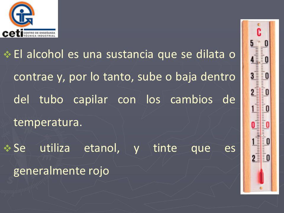 El alcohol es una sustancia que se dilata o contrae y, por lo tanto, sube o baja dentro del tubo capilar con los cambios de temperatura. Se utiliza et