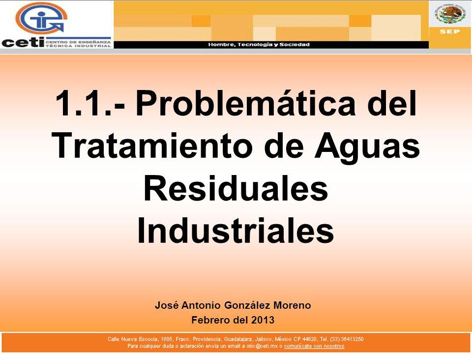 1.1.- Problemática del Tratamiento de Aguas Residuales Industriales José Antonio González Moreno Febrero del 2013