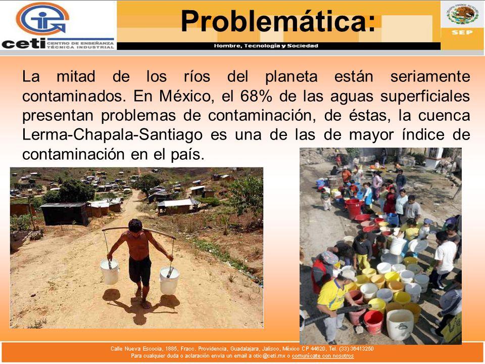 La mitad de los ríos del planeta están seriamente contaminados. En México, el 68% de las aguas superficiales presentan problemas de contaminación, de