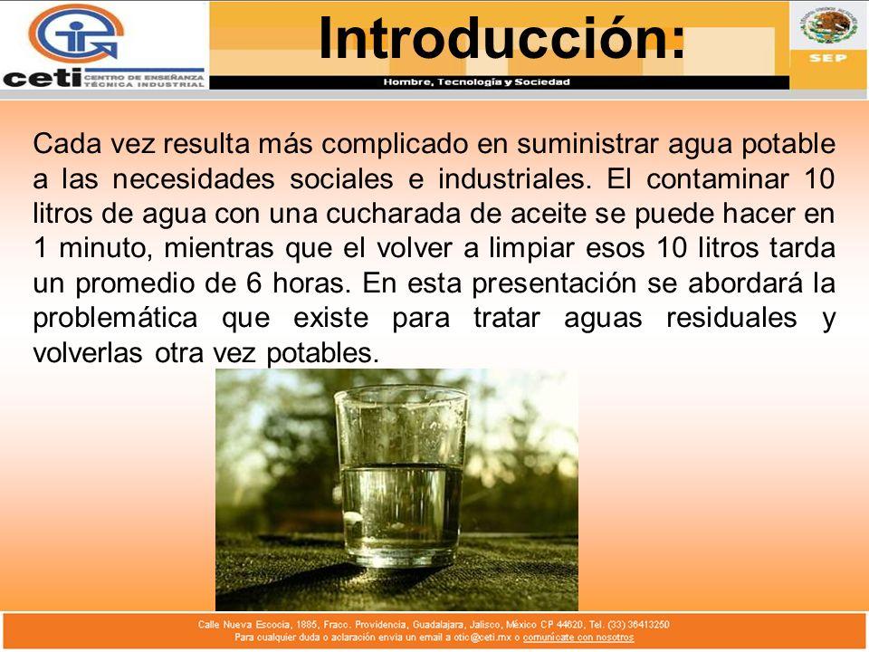 Cada vez resulta más complicado en suministrar agua potable a las necesidades sociales e industriales. El contaminar 10 litros de agua con una cuchara