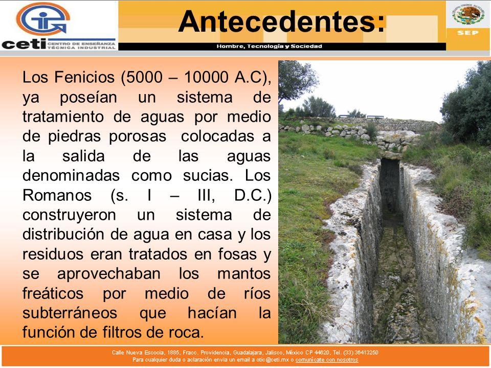 Los Fenicios (5000 – 10000 A.C), ya poseían un sistema de tratamiento de aguas por medio de piedras porosas colocadas a la salida de las aguas denomin