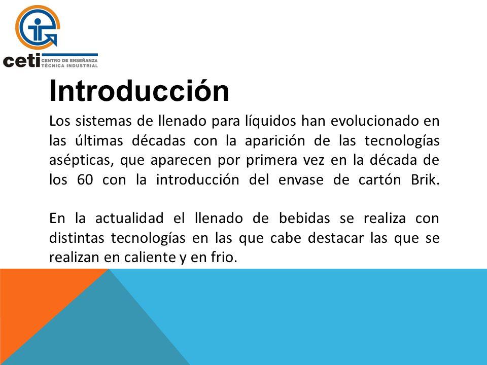 Introducción Los sistemas de llenado para líquidos han evolucionado en las últimas décadas con la aparición de las tecnologías asépticas, que aparecen por primera vez en la década de los 60 con la introducción del envase de cartón Brik.