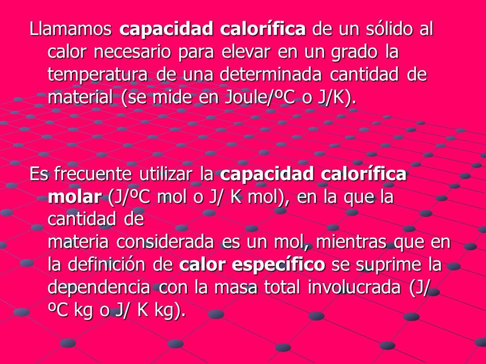 Llamamos capacidad calorífica de un sólido al calor necesario para elevar en un grado la temperatura de una determinada cantidad de material (se mide