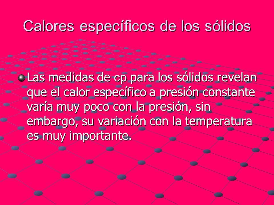Calores específicos de los sólidos Las medidas de cp para los sólidos revelan que el calor específico a presión constante varía muy poco con la presió