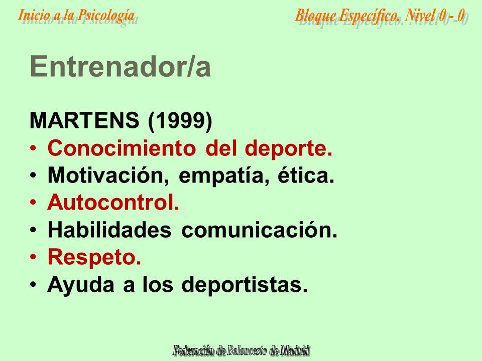 MARTENS (1999) Conocimiento del deporte.Motivación, empatía, ética.