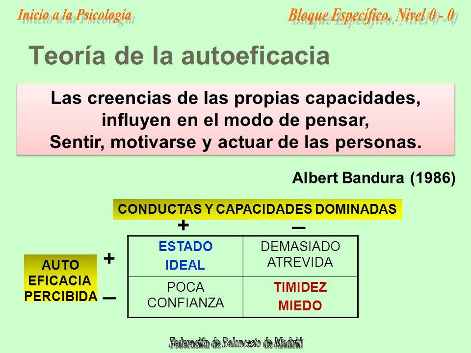 Teoría de la autoeficacia ESTADO IDEAL DEMASIADO ATREVIDA POCA CONFIANZA TIMIDEZ MIEDO Las creencias de las propias capacidades, influyen en el modo de pensar, Sentir, motivarse y actuar de las personas.