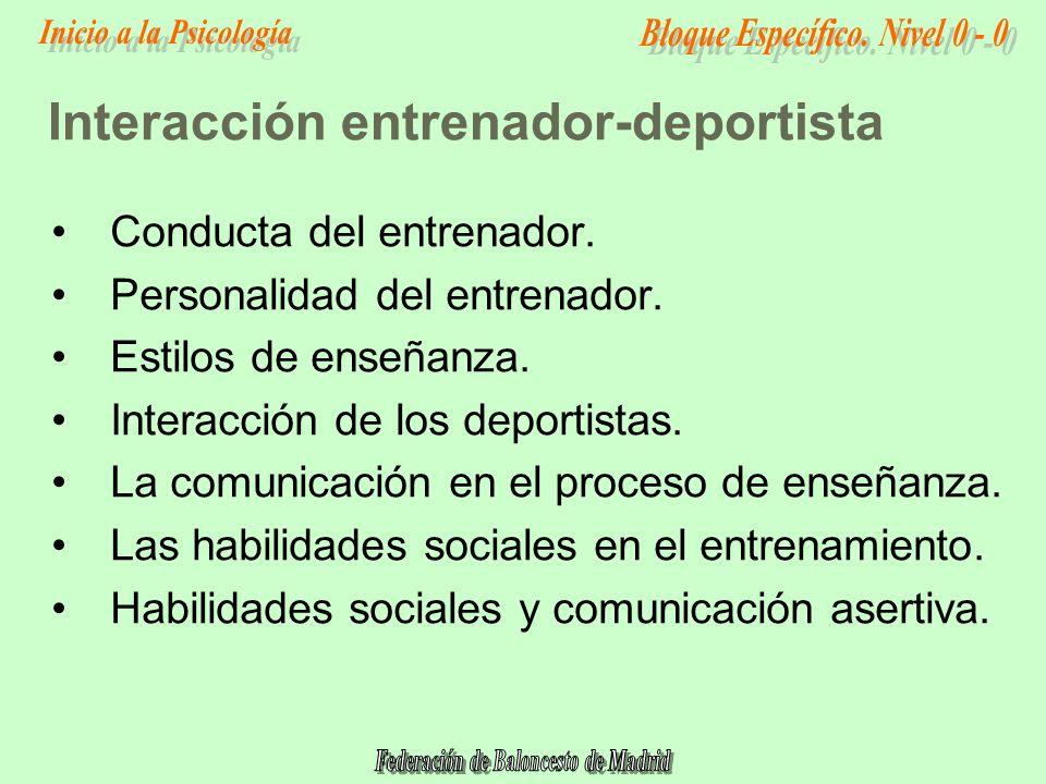 Interacción entrenador-deportista Conducta del entrenador.