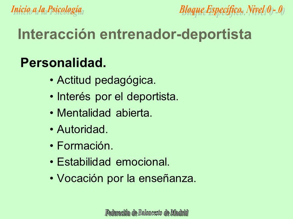 Interacción entrenador-deportista Personalidad.Actitud pedagógica.