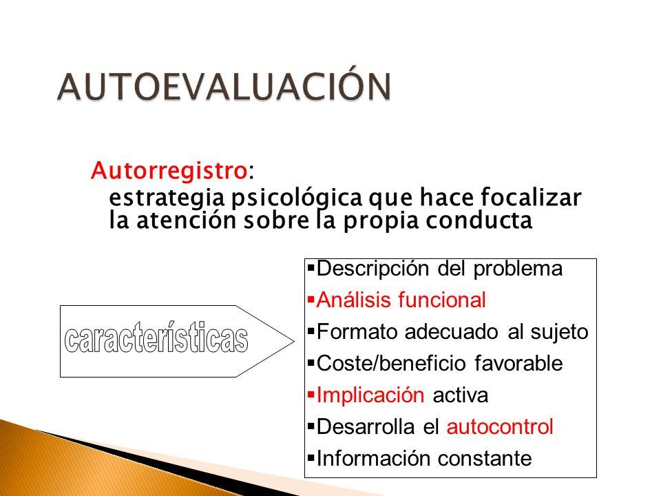Autorregistro: estrategia psicológica que hace focalizar la atención sobre la propia conducta Descripción del problema Análisis funcional Formato adec