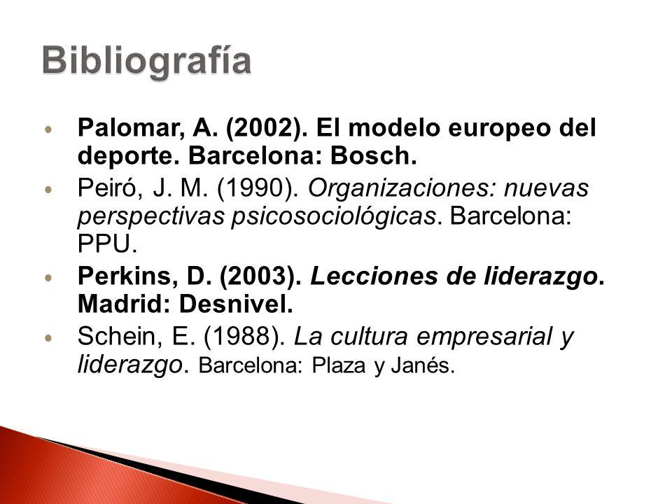 Palomar, A. (2002). El modelo europeo del deporte. Barcelona: Bosch. Peiró, J. M. (1990). Organizaciones: nuevas perspectivas psicosociológicas. Barce