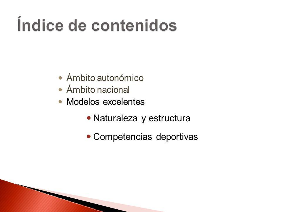 Ámbito autonómico Ámbito nacional Modelos excelentes Naturaleza y estructura Competencias deportivas